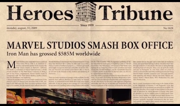 Marvel Renaissance - faux journal Heroes Tribune