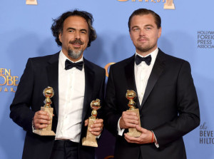 Alejandro Gonzales Inarritu et Leonardo DiCaprio pour The Revenant - Golden Globes 2016 / Photo Getty Images