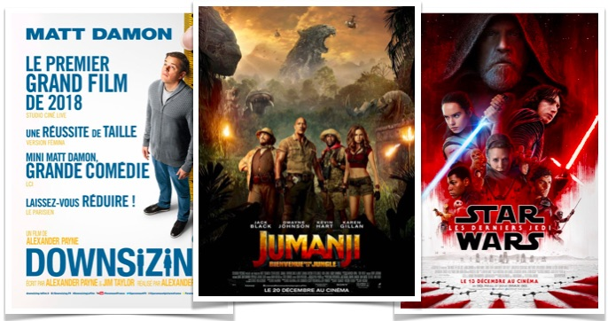 Top hebdo du 10 au 17 janvier - Jumanji Downsizing Star Wars