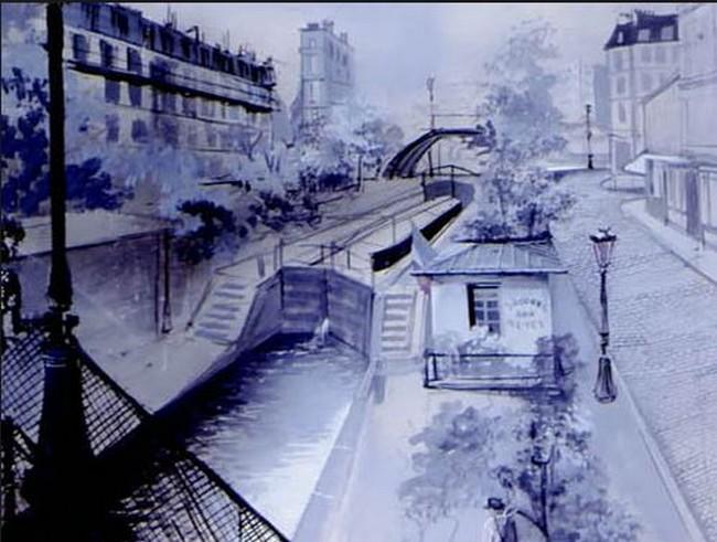 Hotel du Nord - Gouache Alexandre Trauner pour le decor
