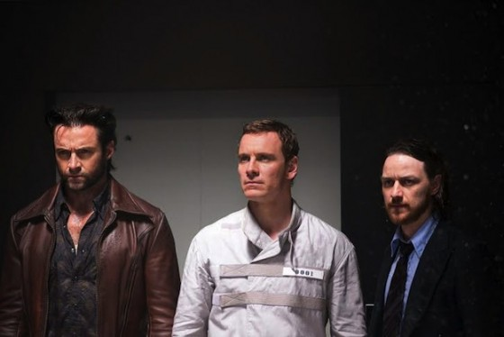 Hugh Jackman, Michael Fassbender etJames McAvoy dans XMen Days of Future Past de Bryan Singer / 20th Century Fox