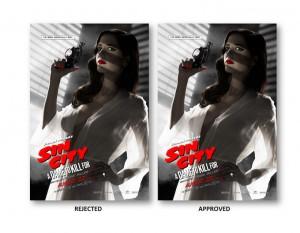 posters censurés et validés de Eva Green dans Sin City 2 par la MPAA (photo Collider)