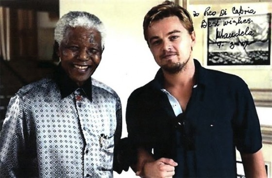 Photo dédicacée de Nelson Mandela pour Leonardo DiCaprio (2007)