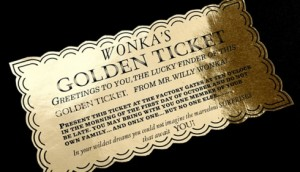 Ticket d'or Willy Wonka - Charlie et la Chocolaterie