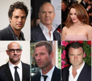 Mark Ruffalo, Michael Keaton, Rachel McAdams, Stanley Tucci, Aaron Eckhart et Liev Schreiber en vue pour Spotlight de Tom McCarthy