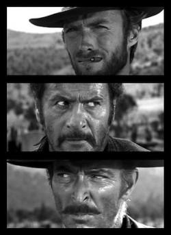 Clint Eastwood, Eli Wallach et Lee Van Cleef dans Le Bon, la Brute et le Truand (1966)