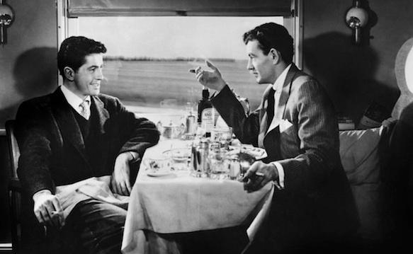 Farley Granger et Robert Walker dans L'inconnu du Nord Express d'Alfred Hitchcock (1951)