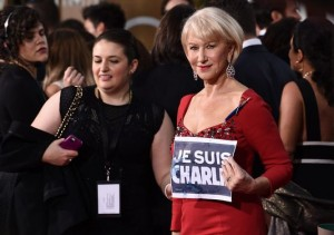 Helen Mirren Golden Globes 2015 Je suis Charlie