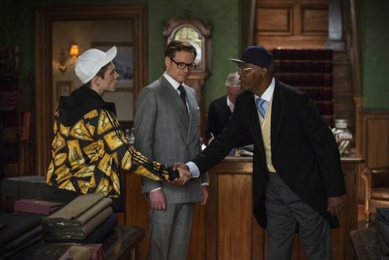 Taron Egerton, Colin Firth et Samuel L Jackson dans Kingsman de Matthew Vaughn