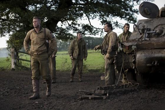 Brad Pitt, Logan Lerman, Michael Pena, Shia LaBeouf dans Fury de David Ayer