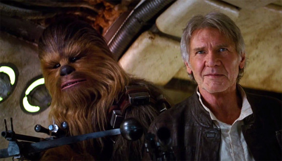 Chewbacca (Peter Mayhew) et Han Solo (Harrison Ford) dans Star Wars le Reveil de la Force