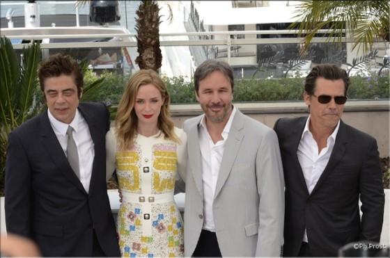 Benicio del Toro, Emily Blunt, Denis Villeneuve, Josh Brolin pour Sicaro