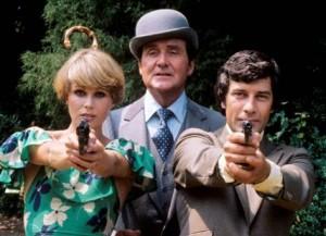 Joanna Lumley (Purdey), Patrick Macnee (John Steed), Gareth Hunt (Mike Gambit)