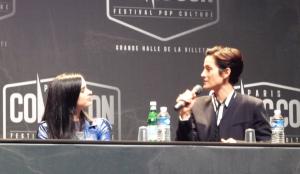Krysten Ritter et Carrie-Anne Moss pour Jessica Jones - Paris Comic Con 2015 / Photo Yvan Lozac'hmeur pour CineChronicle