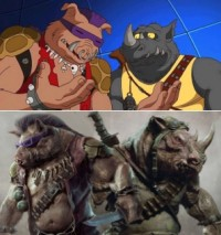 Bebop le sanglier (Gary Antony Willimas) et Rocksteady le rhinoceros (Stephen Farrelly) - Ninja Turtles