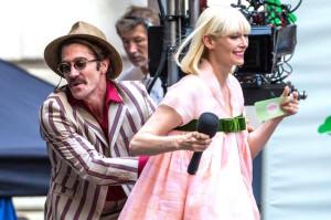 Jake Gyllenhaal et Tilda Swinton - tournage de Okja