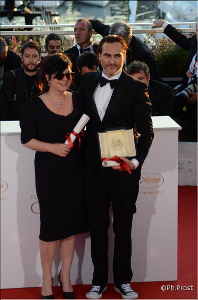 Lynne Ramsay et Joaquin Phoenix - Festival de Cannes 2017 - Photo Philippe Prost pour CineChronicle
