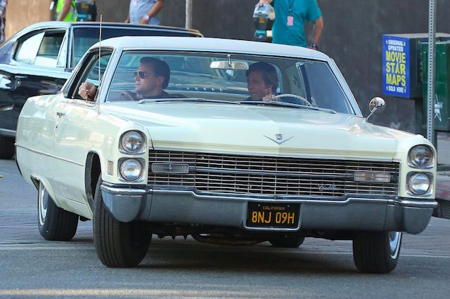 Leonardo DiCaprio et Brad Pitt - Photo tournage Once Upon a Time in Hollywood